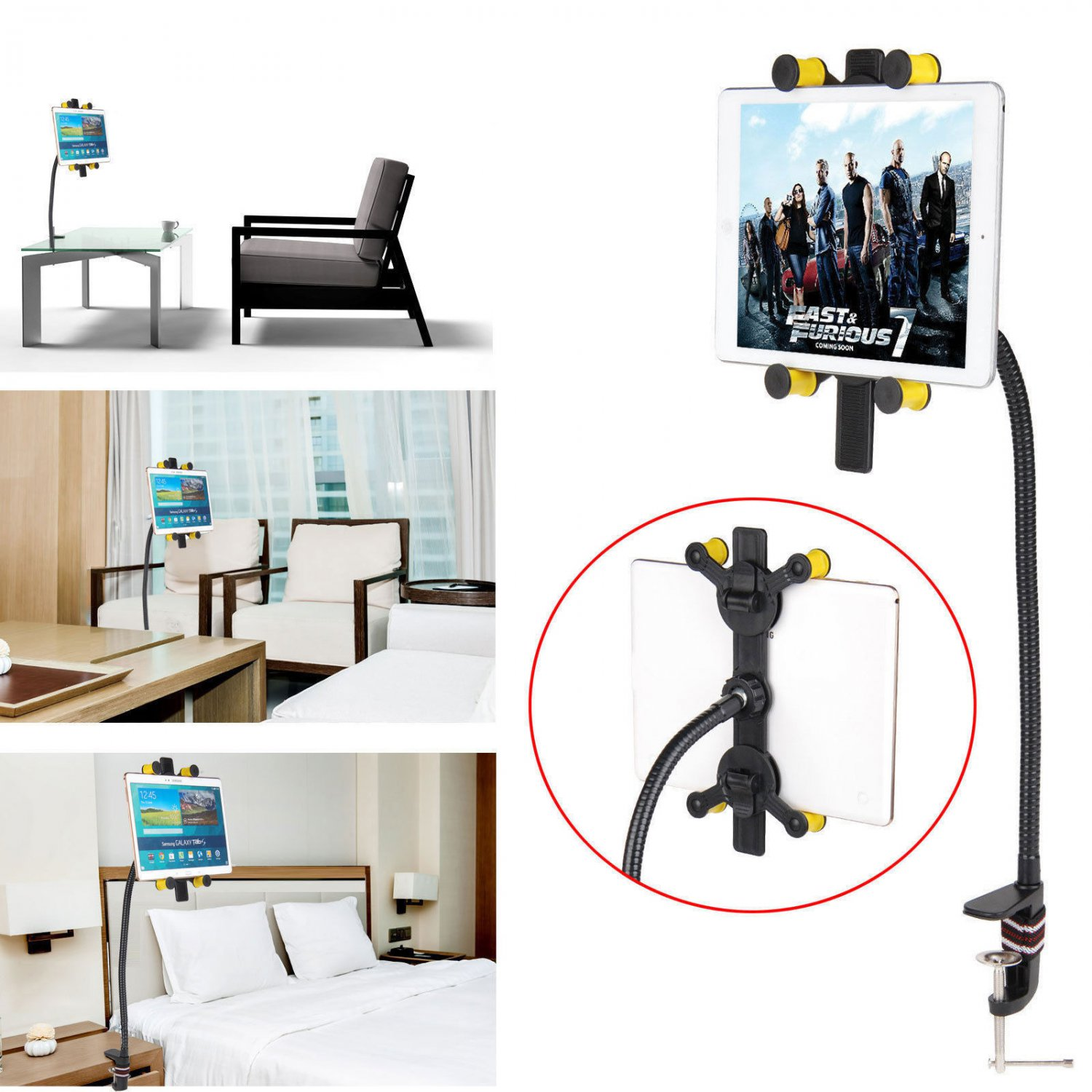 New Bed Tablet Stand Holder Mount for 7-10 Tab Universal 360 Rotating