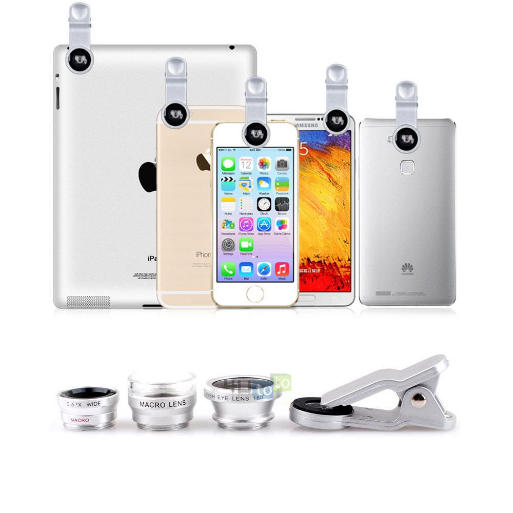 4in1 Detachable Marco 6.0x, Fish Eye,Wide Angle,Macro Clip Lens for iPhone6 5S 5