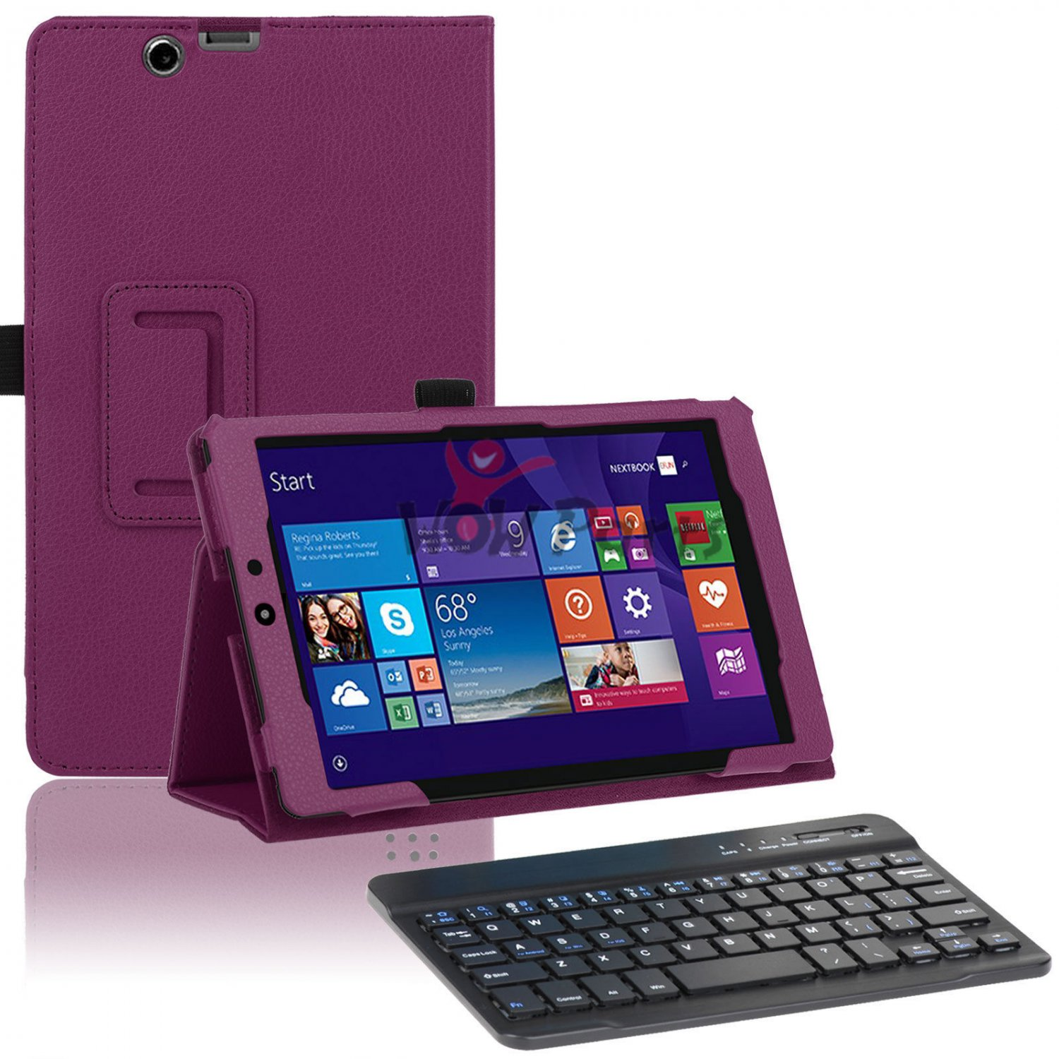 Purple Leather Stand Case Bluetooth Keyboard for Nextbook Windows 8.1