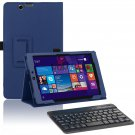 Deep Blue Leather Stand Case Bluetooth Keyboard for Nextbook Windows 8.1