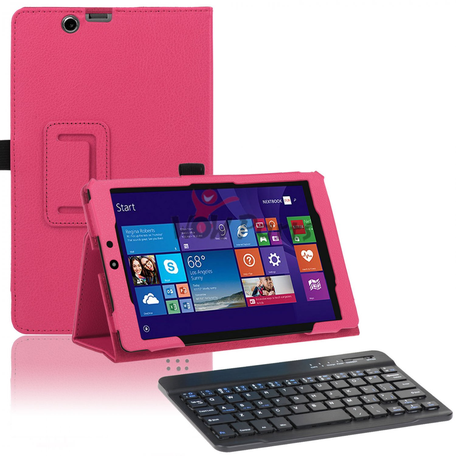 Light Pink  Leather Stand Case Bluetooth Keyboard for Nextbook Windows 8.1