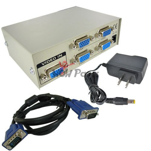 New 4-Port VGA Video Splitter Cable for Laptop to Monitor 1 In 4 Out
