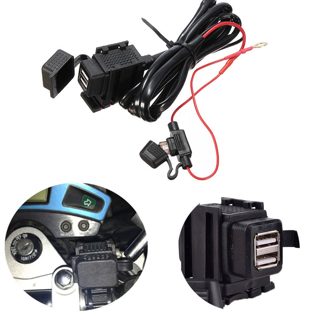 12V-24V Motorcycle Waterproof 2 USB Power Supply Port Socket Charger for Garmin