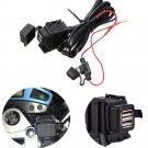 12V-24V Motorcycle Waterproof 2 USB Power Supply Port Socket Charger for Garmin