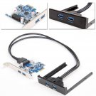 New Port USB 3.0 PCI Express Card Adapter 3.5 inch Front Panel Expansion