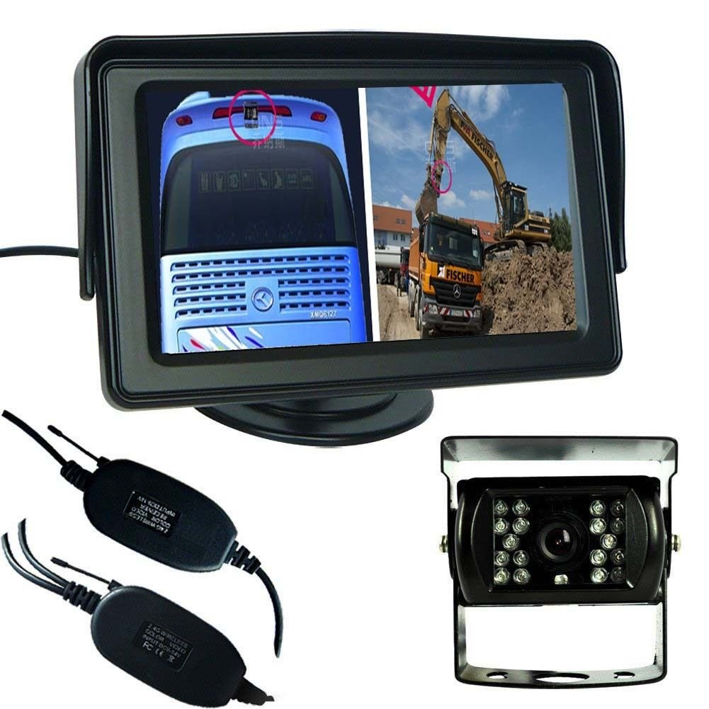 4.3 LCD TFT Monitor,Wireless Car Bus Rear View Reversing System IR Camera Kit