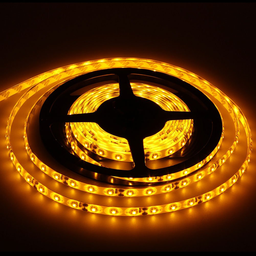Yellow Led Strip Light: Yellow Waterproof Super Bright 5M SMD 5050 300 LED