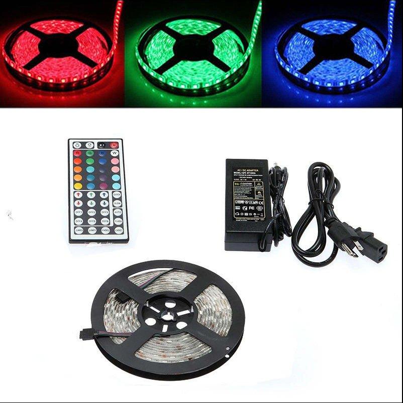 5M SMD RGB 5050 Waterproof Strip Light 300 LED,44 Key IR Remote,12V 5A Power