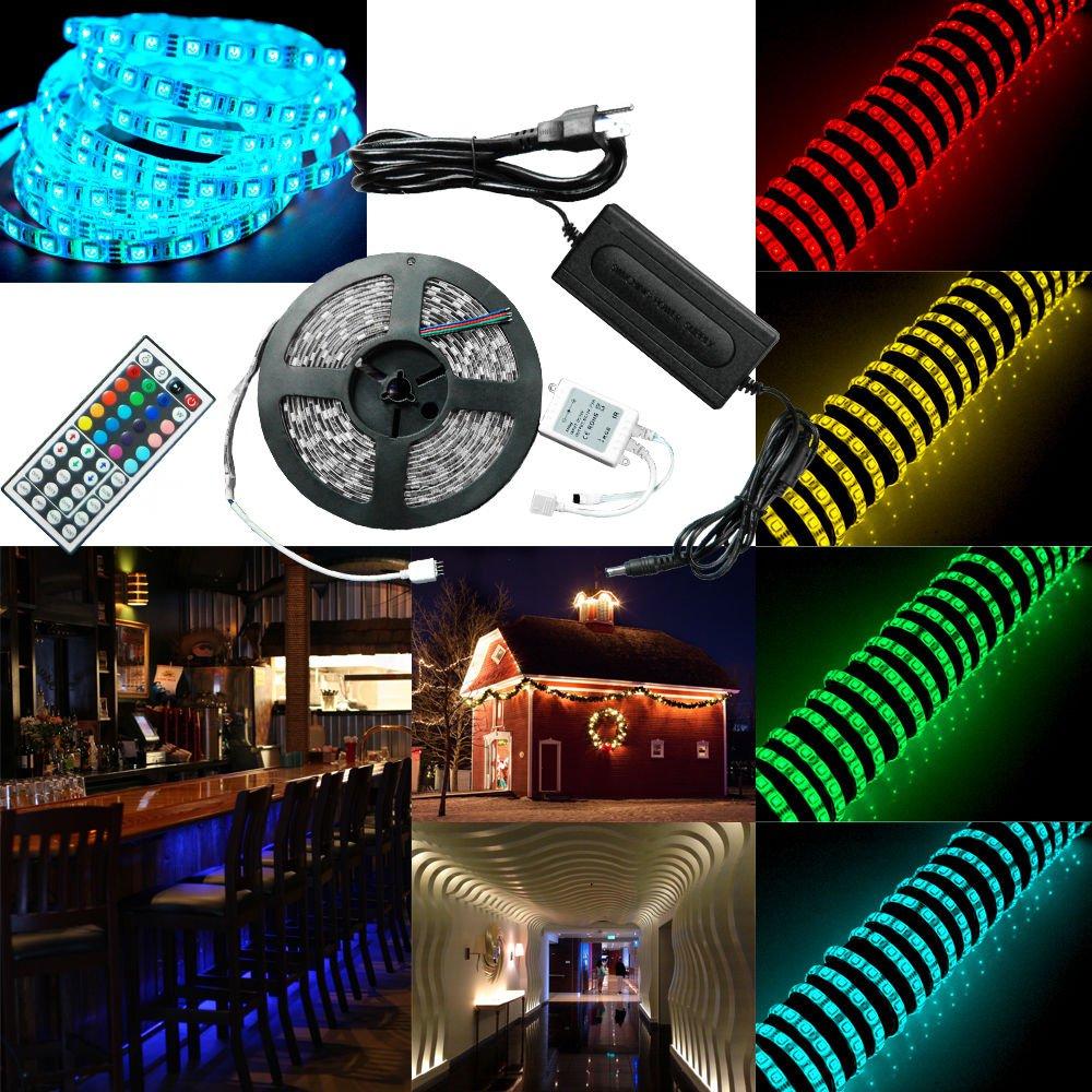 5M SMD RGB 5050 Waterproof Strip light 300 LED 44 Key IR Remote 12V Power