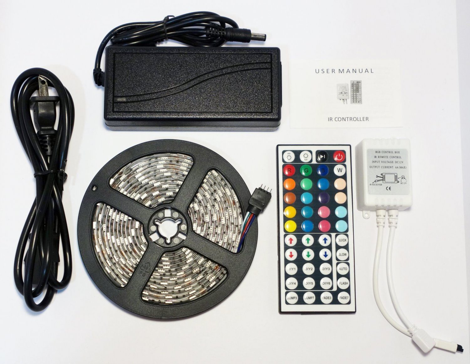 RGB 3M 10F Waterproof Outdoor LED Light Strip SMD 5050 44 Key Remote 12V 3A