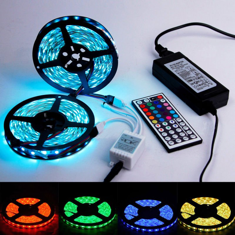 New 10m RGB SMD Waterproof 600LED Light Strip Flexible 44key IR Remote,8A Power