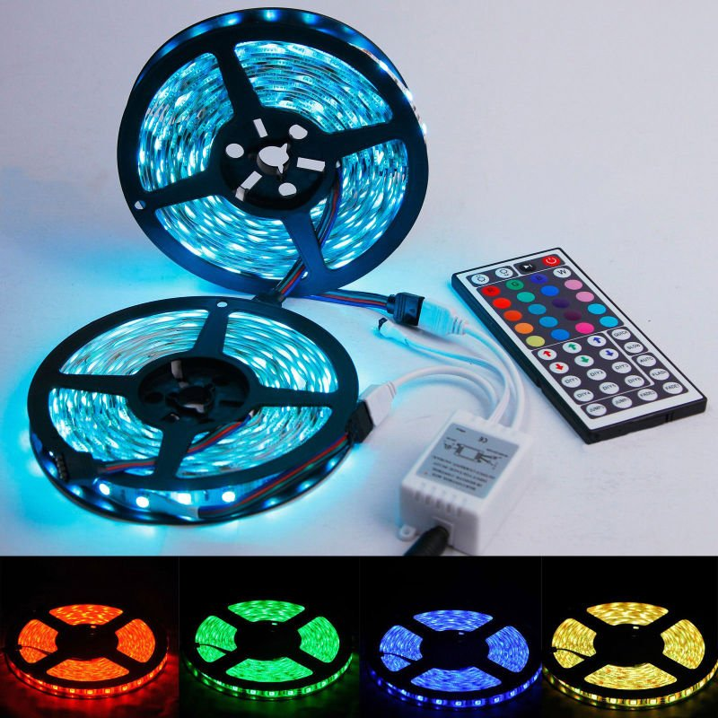 10m RGB 5050 SMD Waterproof 600 LED Light Strip Flexible 44 key IR Remote