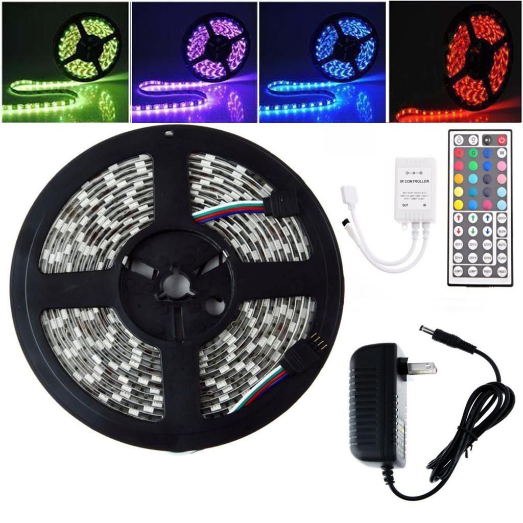 Waterproof 5M SMD 5050 IP65 RGB Strip Light 300 LED 44 Key IR Remote 12V Power