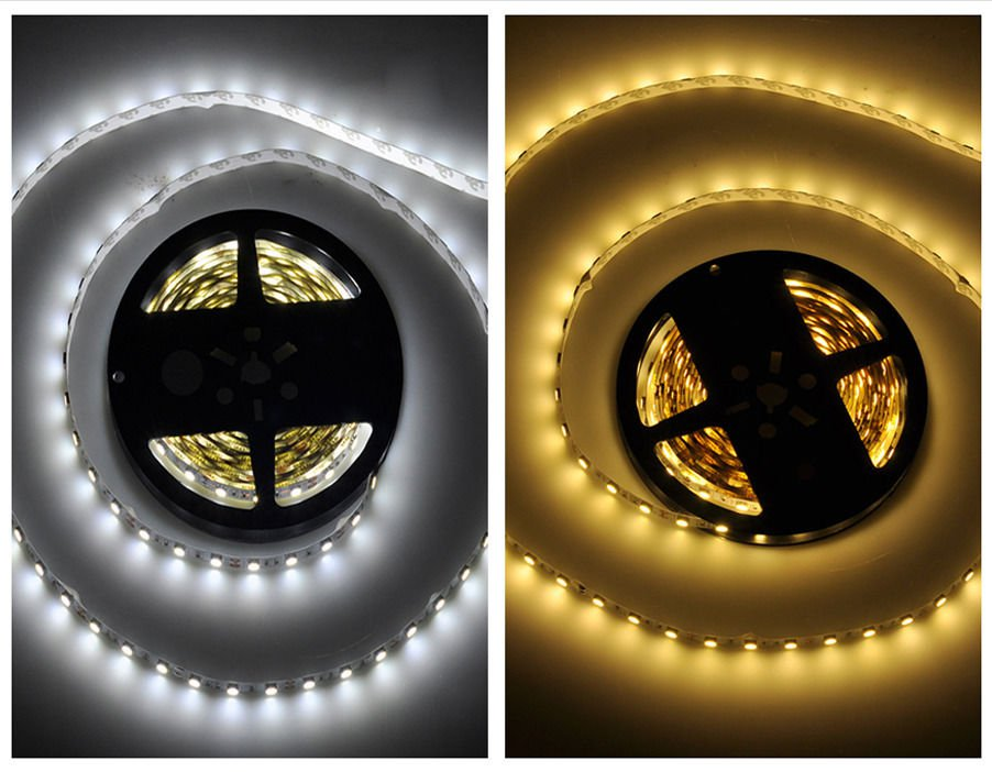 16.4ft Cool White or Warm White Non-Waterproof 300 LED SMD Flexible Strip Light DC 12V