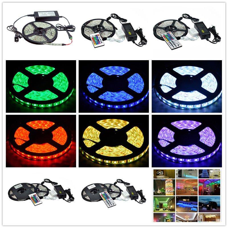 New 5m RGB 5050 LED Light Strip light Remote Control Power Supply