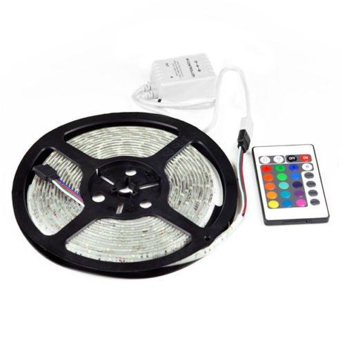 12v 5m Waterproof RGB 300 LEDS Smd 5050 LED Strip Light Lamp 24 Key