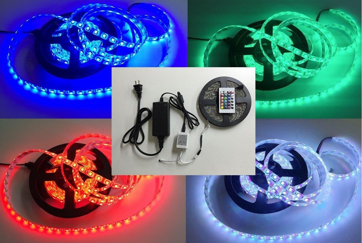 5M SMD 300 RGB 5050 Waterproof LED Strip light 24key IR Remote 12V 5A Power Kit