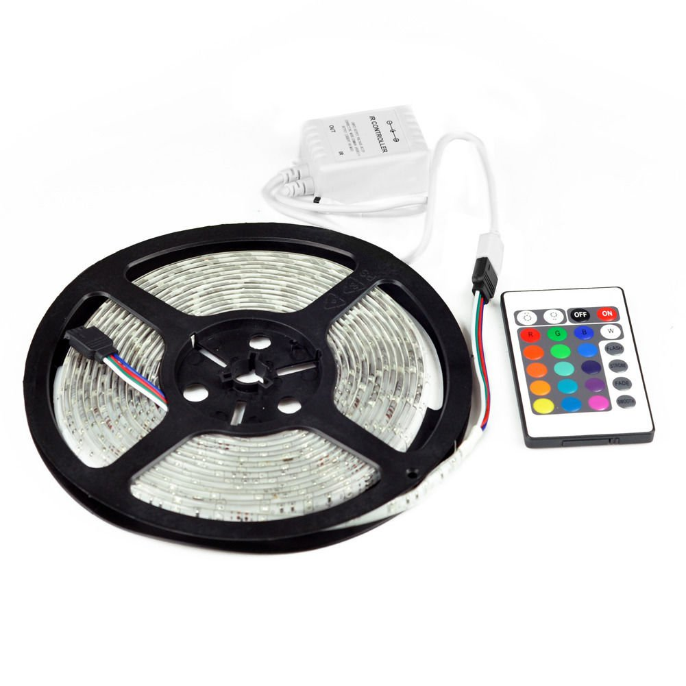 New 5M SMD RGB 3528 Waterproof Strip light 300 LED strip 24 key IR controller