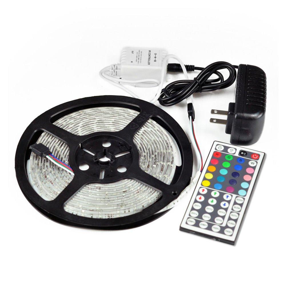 New 5M SMD RGB 3528 Waterproof Strip light 300 LED strip 44 key IR 12v Power