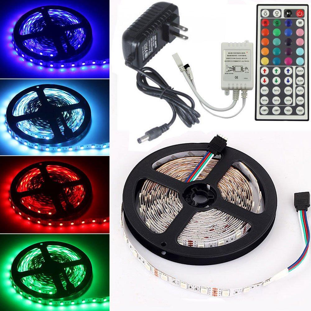 5M 300LED 5050SMD RGB Flexible Non-Waterproof Strip Light 44Key Remote 12V Power