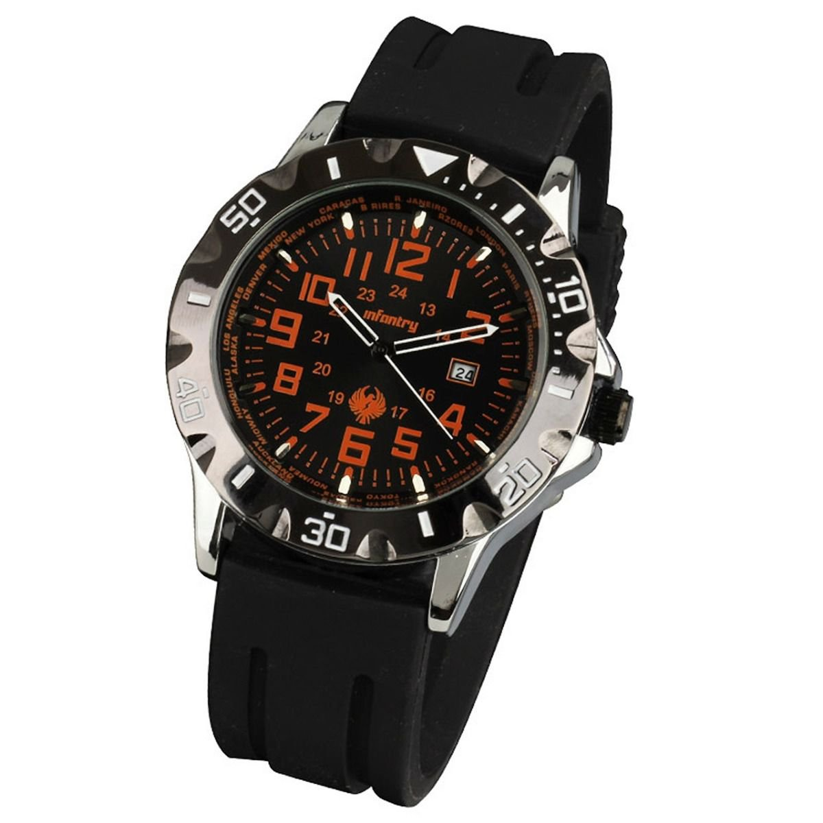 New Infantry Mens Quartz 24h Dial Sport Wrist Watch Black Rubber Band Waterproof