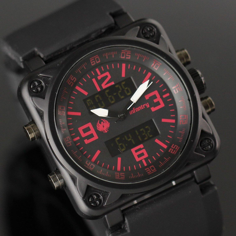 Infantry Mens Luxury Lcd Digital Quartz Wrist Watch Alarm Date Day Stopwatch