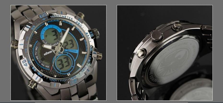 New Infantry Luxury Mens Quartz Digital Sport Army Tachymeter Wrist Watch Alarm