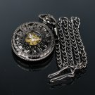 Pacifistor Classic Mechanical Skeleton Mens Analog Pocket Chain Watch Pendant