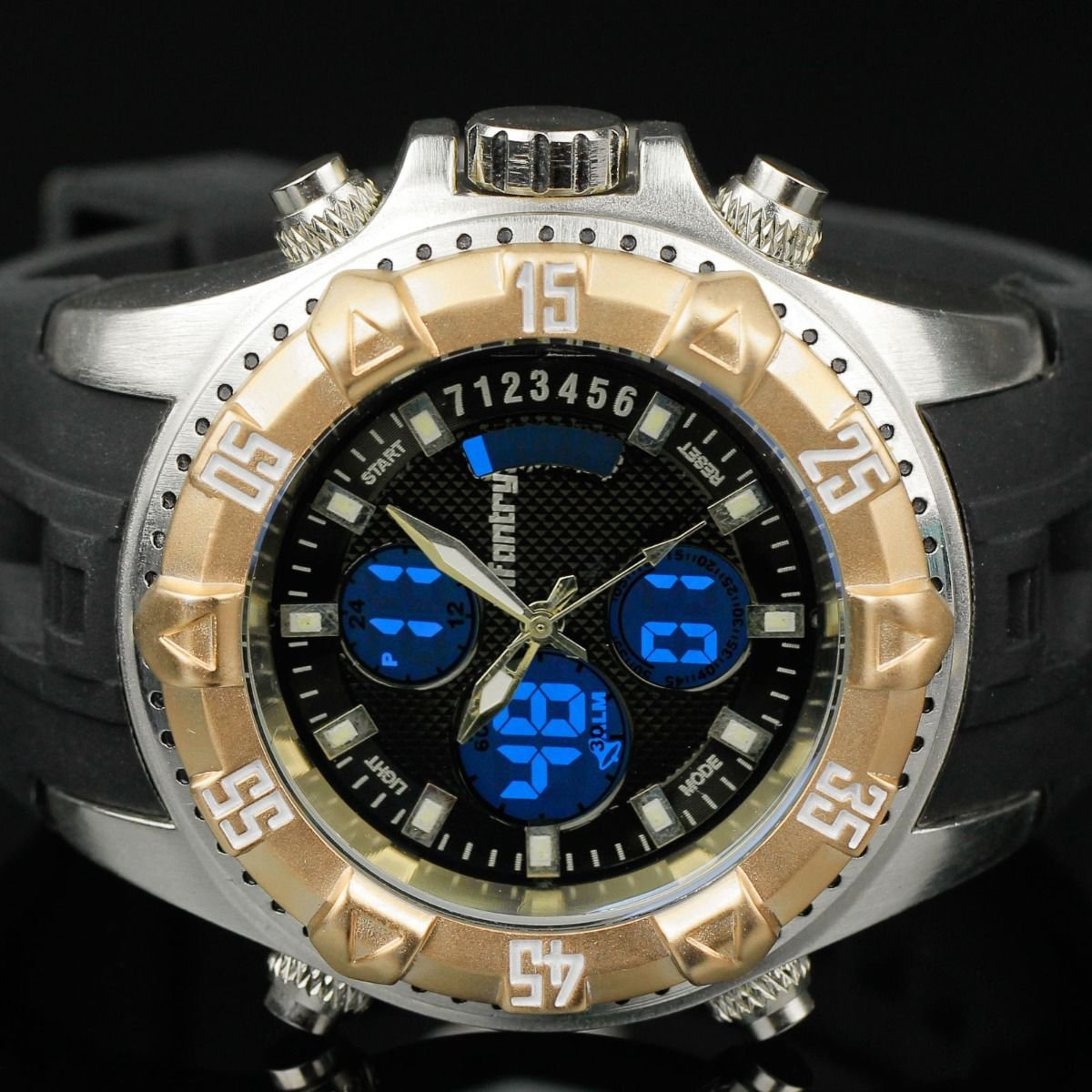 New Infantry Classic Mens Digital Chrono Quartz Luminous Wrist Watch GoldenBezel