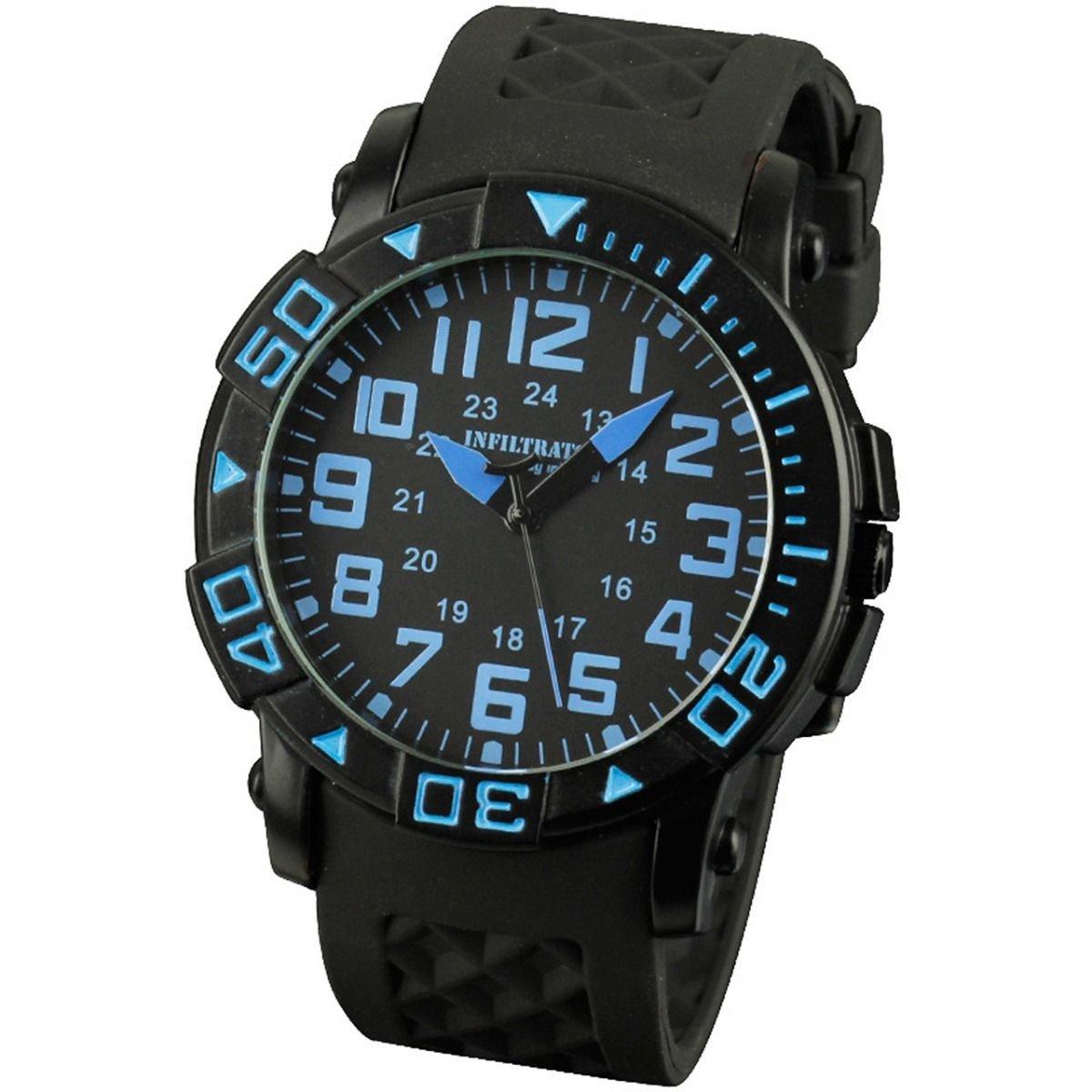 New Blue Infantry Mens Sport Quartz Wrist Watch Rotatabel Bezel Rubber strap