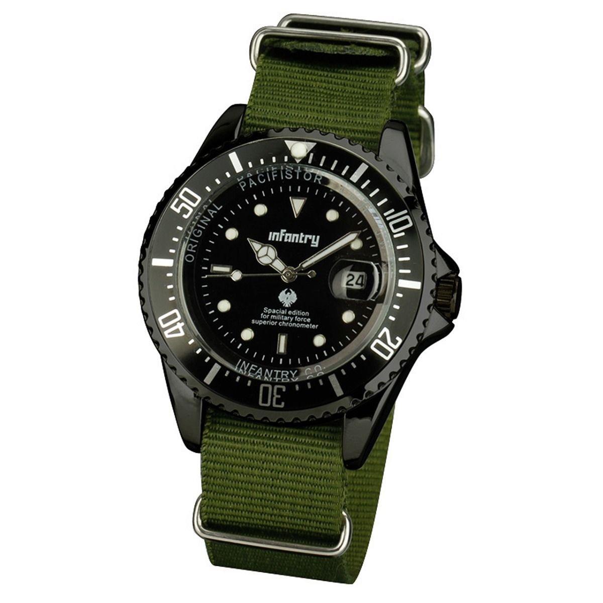 New Silver Case Black Nylon Mens Quartz Sport  Wrist Watch Fabric Nylon Band