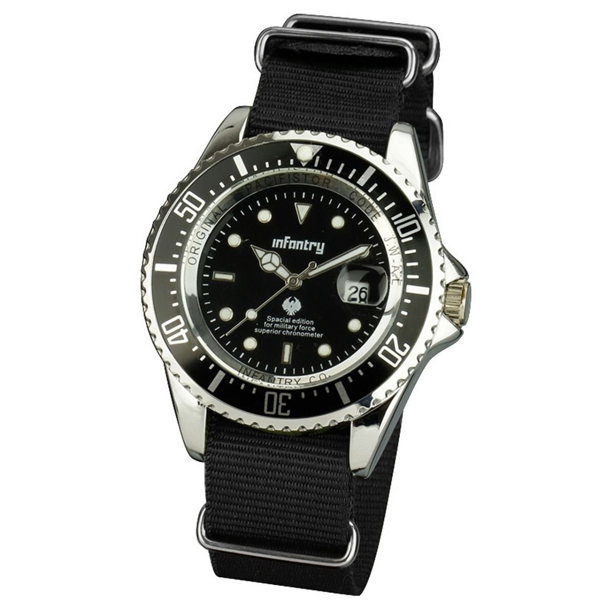 New Infantry Mens Luminous Dial Quartz Sport Black Wrist Watch Fabric Nylon Band