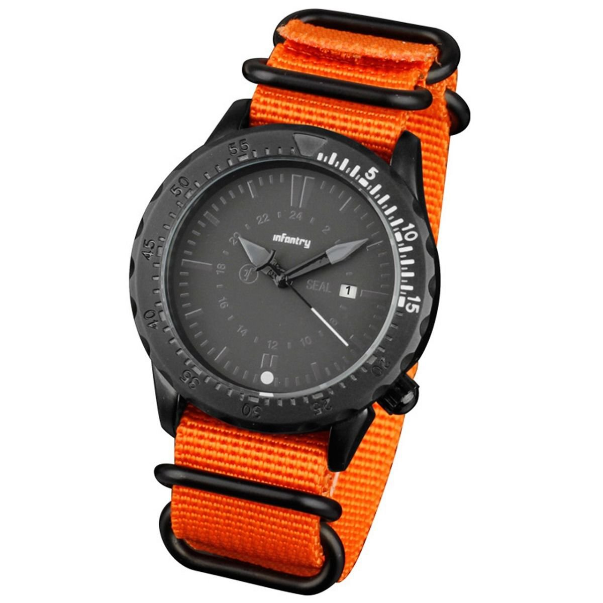Infantry Mens Sport Quartz Watch Tachymeter Bezel Nylon Orange Band and White