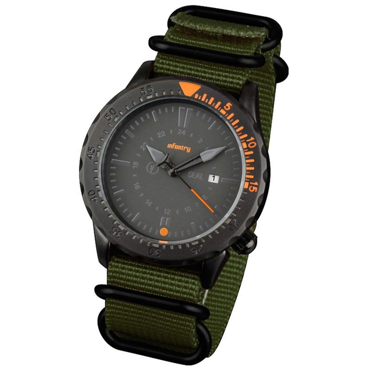 Green Band and Orange Infantry Mens Sport Quartz Watch Tachymeter Bezel Nylon