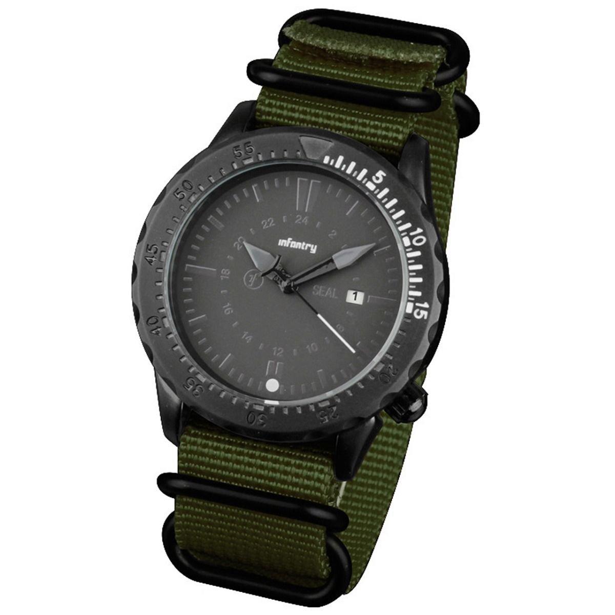 Green Band and White Infantry Mens Sport Quartz Watch Tachymeter Bezel Nylon