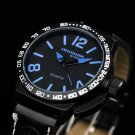 New Infantry Black Leather Round Analog Quartz Military Sport Mens Wrist Watch
