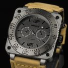 Infantry Mens MIlitary Sport Quartz Luxury Genuine Leather Wrist Watch Luminous