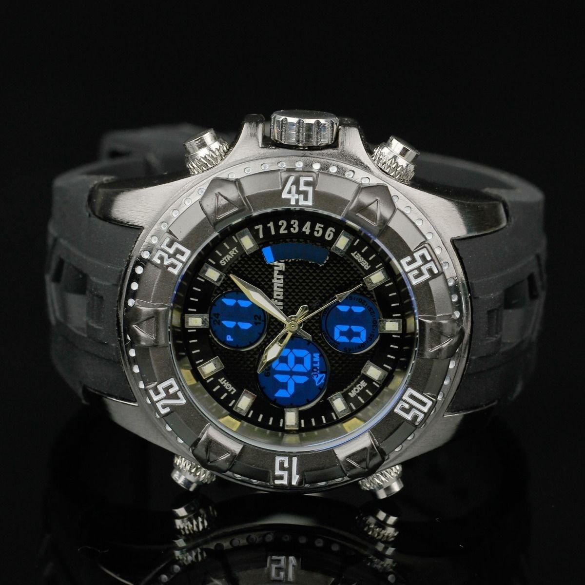 Infantry Aviator Lume Chronograph Dual Quartz Digital Wrist Watch Day Date Alarm