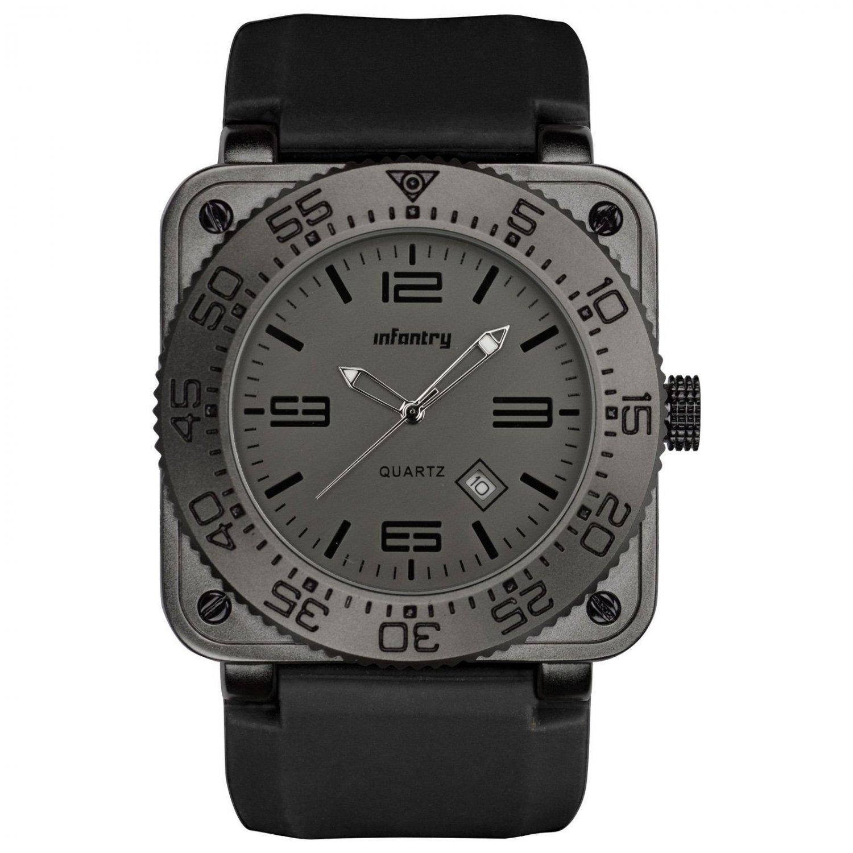 Infantry Luxury Military Sport Quartz Date Silicone Mens Black Wrist Watch Set
