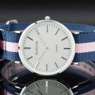 Pacifistor Classic Fashion Mens Analog White Dial Nylon Strap Quartz Wrist Watch