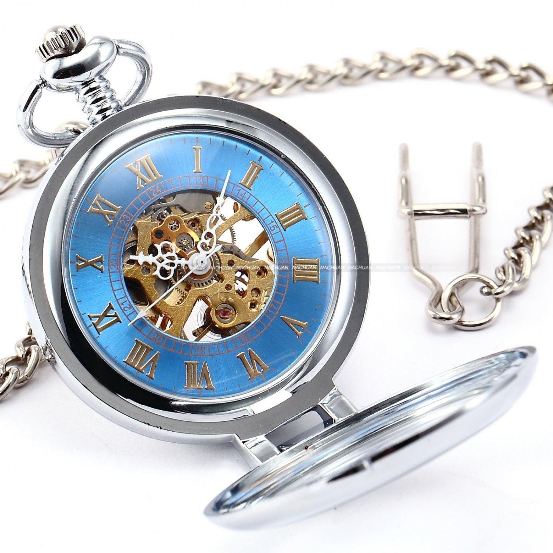 Blue Antique Vintage Gloria Magnifying Case Skeleton Men Mechanical Pocket Watch