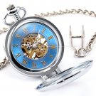 Blue Antique Vintage Gloria Magnifying Case Skeleton Men Mechanical Pocket Watch