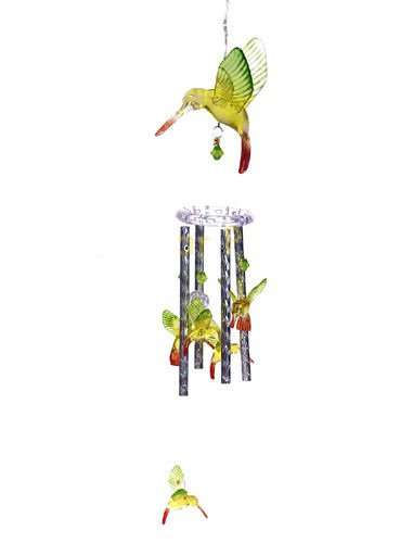 Hummingbird Wind Chimes Solar Color Changing LED Light Landscape Path Lamp Post
