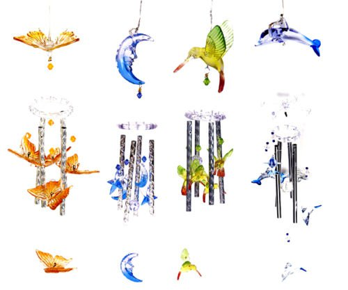 Solar Color Changing Hummingbird Moon Stars Butterfly Dolphin Wind Chime Light