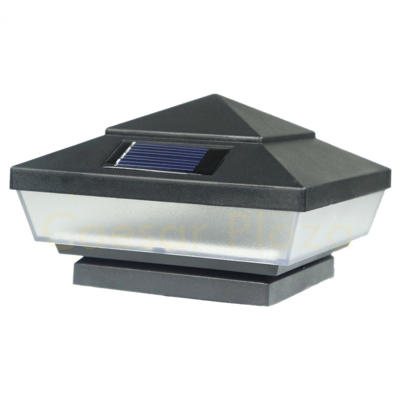 2 x Black Outdoor Solar LED Deck Post Cap Fence Path Lights Landscape Yard Lamp
