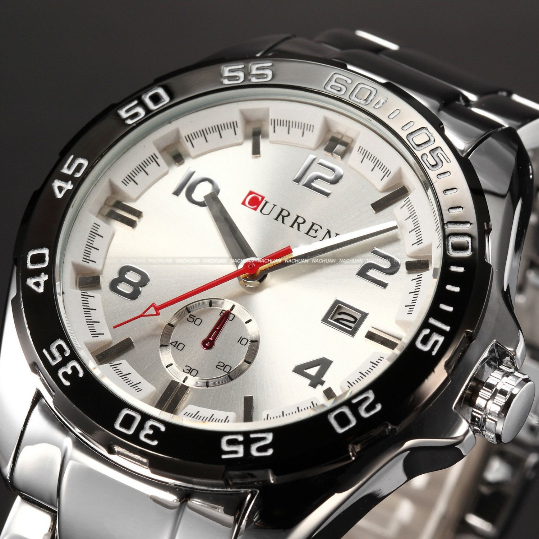 New Curren Mens Stainless Steel Analog Sport Quartz Date Wrist Watch