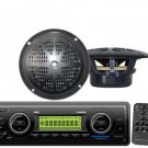 New Marine Boat AM FM SD USB MP3 AUX Weather band Radio 2 Pyle Speakers