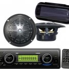 New Black Marine Boat USB MP3 AN FM WB Radio Stereo,2 New Speakers,Cover