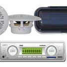 200 Watt New Marine Boat SD USB AUX Receiver 2 4 Round speakers,Splash Cover