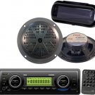 New Black Pyle Marine USB AUX Weatherband Stereo System,2 Speakers,cover